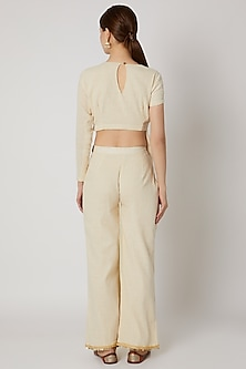 Ivory & Yellow Crop Top With Pants by A-Sha by Rishi & Vibhuti