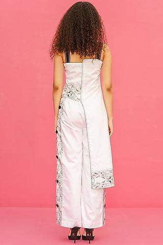 White Cotton Printed Straight Pants by Shristi Chetani
