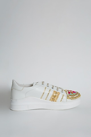 Golden Gota Embroidered Sneakers by Saree Sneakers