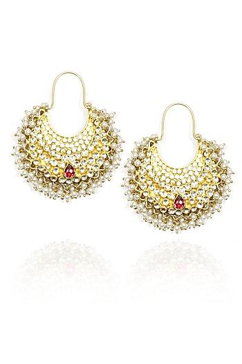 Gold finish crystal studded earrings by Shri Hari Diagems