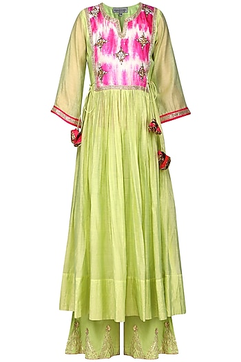 Green Embroidered Kurta with Palazzo Pants by Sareeka H & Mukkta Dograa