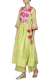 Green Embroidered Kurta with Palazzo Pants by Sareeka H & Mukkta Dograa-BEST SELLERS