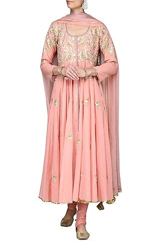 Pink Embroidered Anarkali Set by Sareeka H & Mukkta Dograa