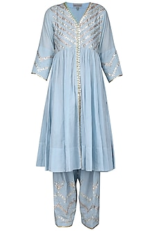 Blue Embroidered Kalidaar Kurta Set by Sareeka H & Mukkta Dograa