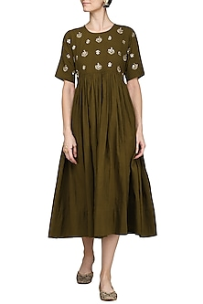 Olive Green Embroidered Dress by Sareeka H & Mukkta Dograa