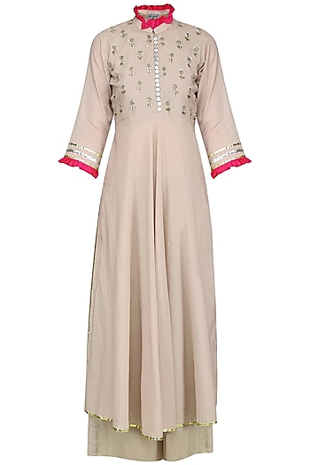 Beige and Pink Embroidered Kurta Set by Sareeka H & Mukkta Dograa