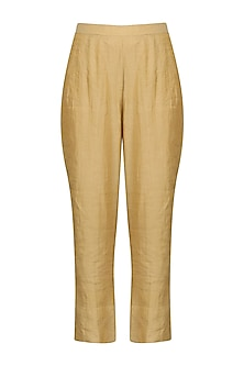 Gold Straight Pants by Sareeka H & Mukkta Dograa