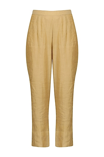 Gold Straight Pants by Sareeka H & Mukkta Dograa