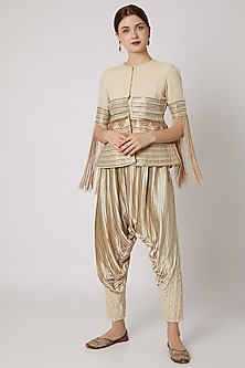 Ivory Sequins Jacket With Dhoti Pants by A-Sha by Rishi & Vibhuti
