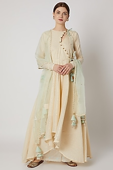 White & Mint Blue Kalidar Anarkali Set by A-Sha by Rishi & Vibhuti