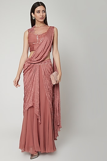 Nude Embroidered Concept Saree Set by Shashank Arya