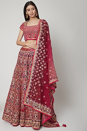 Wine Resham Embroidered Lehenga Set by Shashank Arya