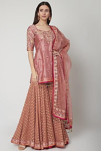 Blush Pink Embroidered Sharara Set by Shashank Arya