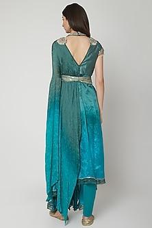 Turquoise Embroidered Draped Kurta Set by Shashank Arya