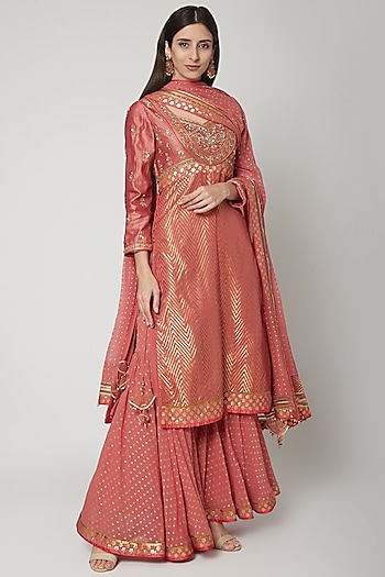 Peach Embroidered Sharara Set by Shashank Arya
