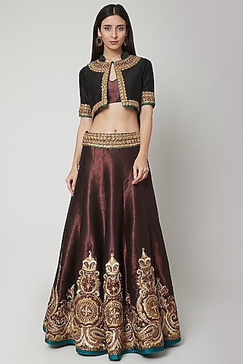 Maroon Embroidered Lehenga With Blouse & Gilet by Shashank Arya