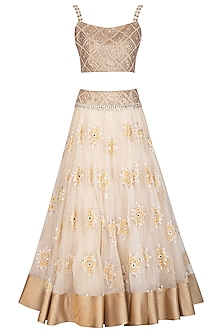 Ivory Embroidered Lehenga Set by Shashank Arya