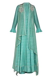 Blue Textured Long Kurta With Pants & Jacket by Shashank Arya