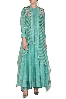 Blue Textured Long Kurta With Pants & Jacket by Shashank Arya