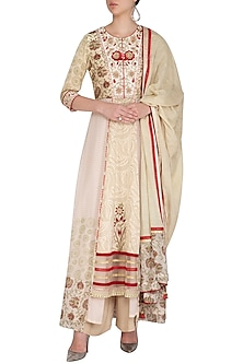 Beige Embroidered & Printed Kurta Set by Shashank Arya