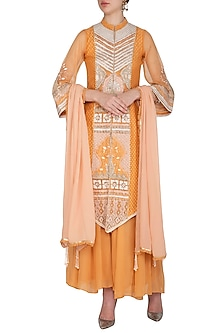 Orange Embroidered Sharara Set by Shashank Arya