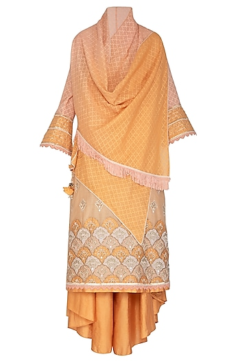 Orange Embellished Kurta With Pants & Jacket by Shashank Arya