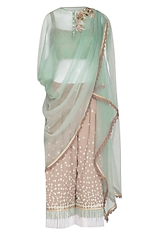 Mint Green Embroidered Draped Top With Taupe Pants & Camisole by Shashank Arya