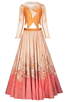 Peach Embroidered Lehenga Set by Shashank Arya