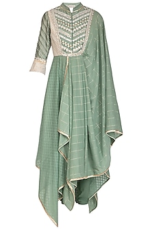 Green Embellished Saree Draped Kurta With Churidar Pants by Shashank Arya
