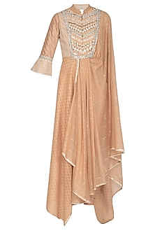 Peach Embellished Saree Draped Kurta With Churidar Pants by Shashank Arya