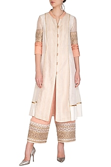 White Embellished Front Open Kurta With Pants by Shashank Arya