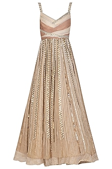 Beige Embroidered Gown by Shashank Arya