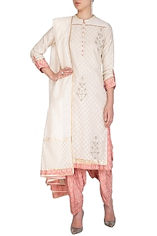 Ivory Block Printed Kurta Set by Shashank Arya