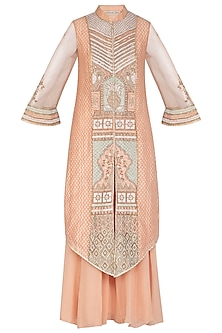 Peach Embroidered Kurta Set by Shashank Arya