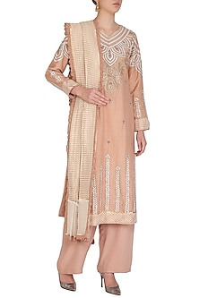 Old Rose Embellished Kurta Set by Shashank Arya