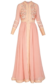 Peach Hand Embroidered Kurta Set by Shashank Arya