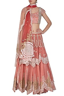 Coral Embellished Layered Lehenga Set by Shashank Arya