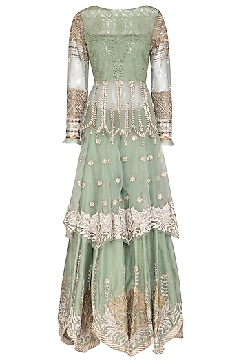 Mint Green Embroidered Sharara Set by Shashank Arya