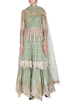Mint Green Embroidered Sharara Set by Shashank Arya