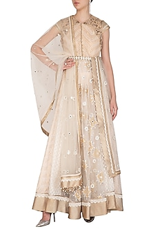 Ivory Embroidered Anarkali Set With Belt by Shashank Arya