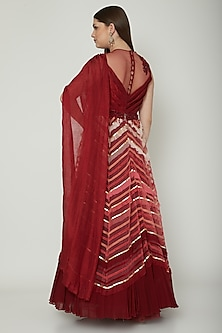 Maroon Embroidered Draped Anarkali Gown by Shashank Arya