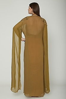 Olive Green Embellished Cape With Top & Draped Dress by Shashank Arya