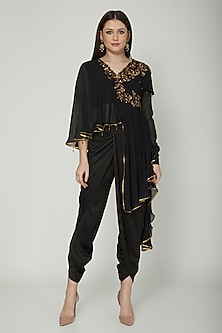 Black Embroidered Draped Top With Dhoti Pants by Shashank Arya