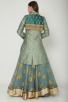 Sky Blue Embroidered Overcoat With Skirt by Shashank Arya