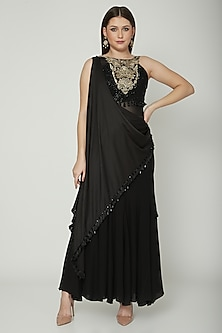 Black Embroidered Saree Gown by Shashank Arya