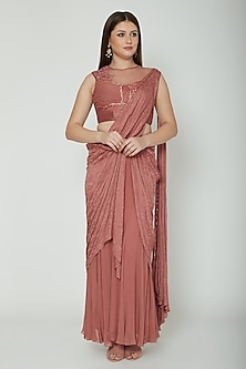 Nude Embroidered Draped Concept Saree Set by Shashank Arya