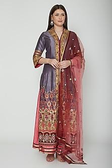 Purple Embroidered Sharara Set by Shashank Arya