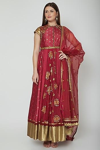 Fuchsia Embroidered Anarkali Set by Shashank Arya