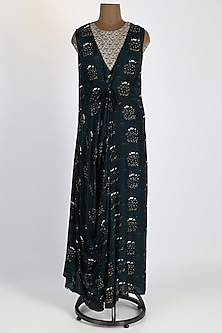 Dark Grey Gown With Cowl Knot by 17:17