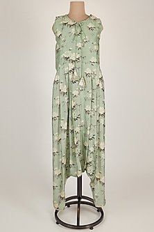Mint Green Floral Printed Jumpsuit by 17:17